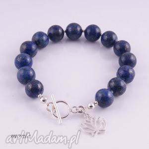 lapis lazuli granatowa bransoletka - biżuteria, srebro