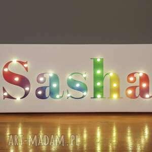 hand made dekoracje napis led obraz neon z imieniem tęczowy personalizowany dekoracja