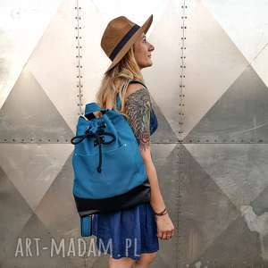 plecak lazurowe wybrzeże, plecak, pojemny niebieski worek