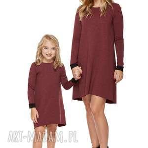 Mama i córka Sukienka dla córki LD5/2, sukienka, dresowa, koronka, rozkloszowana