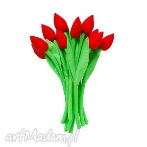 Bukiet bawełnianych tulipanów, tulipany, bawełniane, szyte, kwiatki, materiałowe