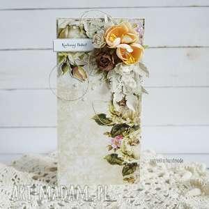 Kartka dla Babci (z pudełkiem) - ,dzień-babci,dla-babci,kartka,prezent,róże,retro,
