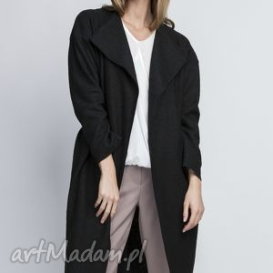 płaszcz, pa101 czarny - płaszcz, trencz, casual, pasek, czarny, szlafrokowy