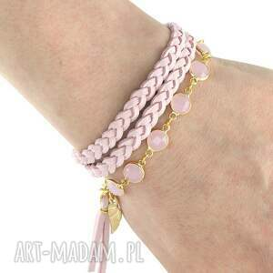 bransoletki boho chic - powder pink gold , kryształek, rzemień, biżuteria