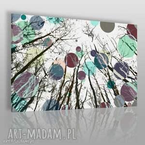 obraz na płótnie - koła drzewa kolory 120x80 cm 24201, abstrakcja, kolory