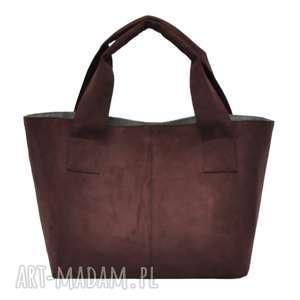 14-0007 Brązowo-bordowa damska torebka do ręki shopper bag PELICAN, torebki-damskie