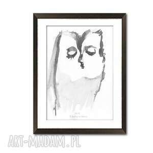 grafika pocałunek 17, format a3, ręcznie malowana czarno biała do salonu