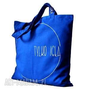 Niebieska torba bawełniana na zakpuy., bawełniana, eko, kieszonka, winylowa, duża