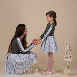 komplet sukienek merry, komplet, śnieżynki, dla mamy i córki, sukienki