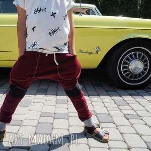 Spodnie baggy BORDO, spodnie, baggy, łaty, bawełna, przedszkole, bordo