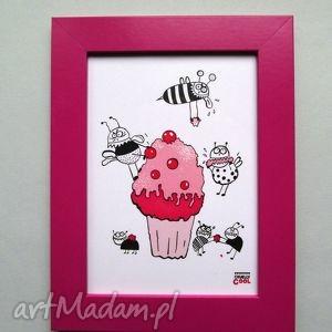 Cherry Cupcake , grafika z serii YUMMY! babeczka, pszczółka, deser, słodycze