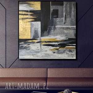 geometria - obraz ręcznie malowany o bogatej fakturze 80x80 cm, do salonu