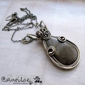 Plata - Obsydian srebrzysty, srebro, naszyjnik, obsydian