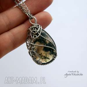 wisiorek agat mszysty, wire wrapping, stal chirurgiczna