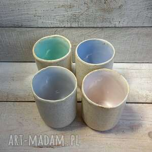 Cztery kubki pastelove - komplet kmdeka ceramiczne, kubki