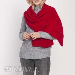 dzianinowy szal, szal001 czerwony mkm, szalik ciepły, jesień zima, doszkoły