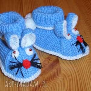 handmade buciki kapciuszki - niebieskie króliczki