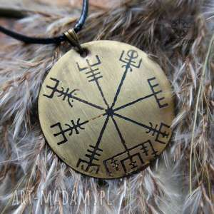 Wisior z trawionego mosiądzu - Vegvisir [060], vegvisir, kompas, nordycki, wiking