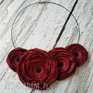bordowy naszyjnik z kwiatów kwiatowa kolia - kwiaty, kolia, naszyjnik, biżuteria