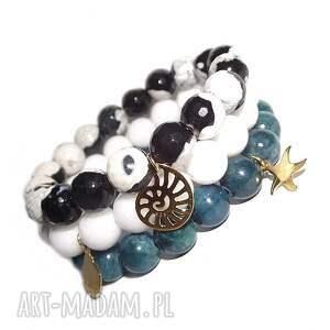 bransoletki komplet morski, muszelka, złoto, kamienie, charms, modna, morze, święta