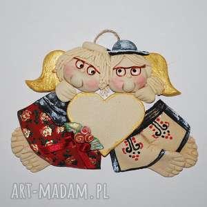 góralskie wesele z sercem aniołki ślubne lub jubileuszowe, anioły, jubileusz, serce