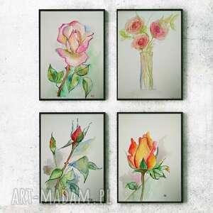 róże-cztery akwarele, róże, kwiaty