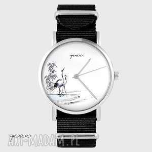 zegarek - japońskie żurawie czarny, nato, zegarek, bransoletka, japoński