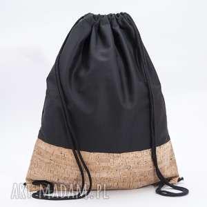 czarny z korkiem, plecak, worek, torba, korek