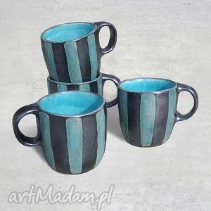 4 kubki ceramiczne w paski wykonane na zamówienie, kubek, ceramika, paski, glina