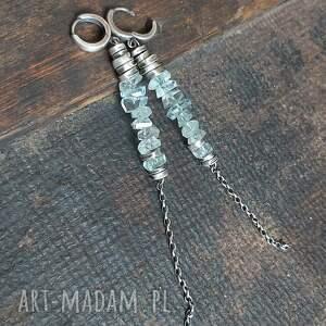 kolczyki srebrne z akwamarynami, wiszące, długie