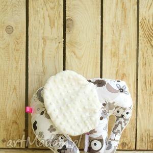 mięciutki słonik - minky bawełna - brązowe sowy - prezent, minky