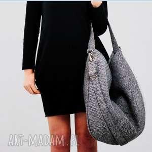 Szara torba w kształcie worka na co dzień, szara-torebka, szara-torba-worek