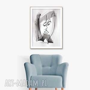 grafika czarno biała, pocałunek, 34 x 46, abstrakcja, elegancki minimalizm, obraz