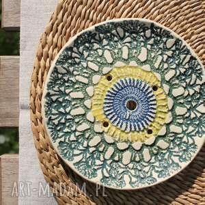 ceramika ceramiczna okręgła mydelniczka, etno, łazienka
