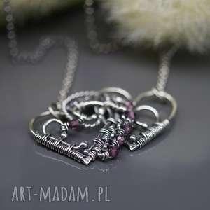 Naszyjnik z turmalinami Dwa serca , walentynki, turmalin, drobny, naszyjnik, srebro,