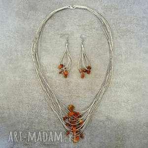 komplet biżuterii z bursztynem naturalnym, bursztyn, len, stal, naturalny