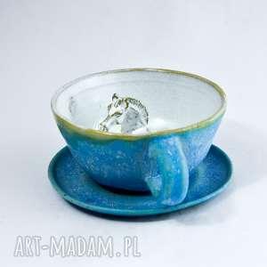 Prezent Ceramiczna duża filiżanka kubek z figurką konia.| Turkus | 300 ml Walentyki