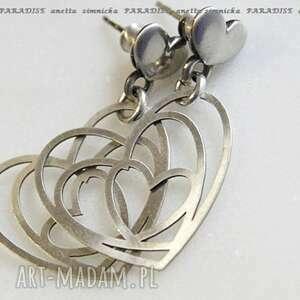 srebro kolczyki, srebrne serca