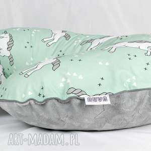 poszewka na poduszkę rogal boppy jednorożce mint, poduszka, poszewka