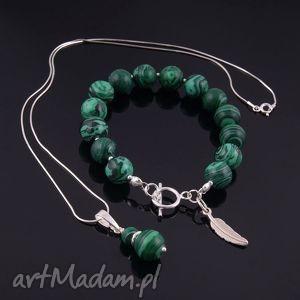 zielony komplet z malachitu na zamówienie, srebro
