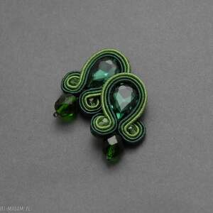 zielone klipsy sutasz, sznurek, eleganckie, wiszące, wieczorowe, długie