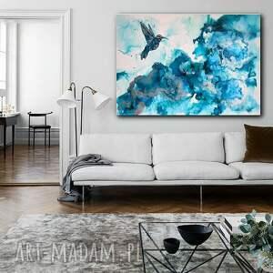 Koliber w turkusowej mgle - Obraz do salonu i na prezent ręcznie malowany,