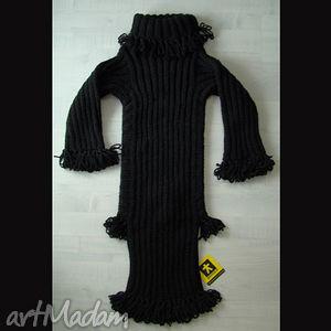 Sukienka czarna dzianinowa dziewczęca sukienki barska sukienka