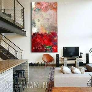stylowe obrazy do salonu - szlachetne czerwienie, salonu, abstrakcja