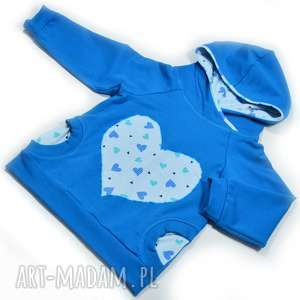 serca niebieska bluza raglanowa dla dziewczynki, bawełna, rozmiary 68-128