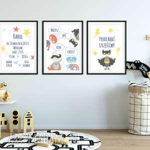 3 plakaty a3 z superbohaterami - metryczka pokoik dziecka well