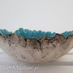 ceramika sardynia miska ceramiczna, turkusowa, duża, nieregularna, artystyczna dom