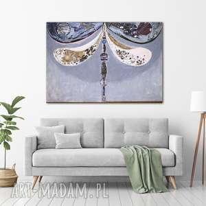 obraz ręcznie malowany na płótnie - ważka - obraz, akryl, malarstwo