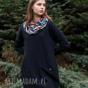 sukienka z kominem why not oversize czarna wzorem, sukienka, plaszcz, dres