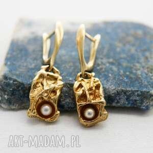 kolczyki z perłą złocone, wzór dostępny na zamówienie, złocone